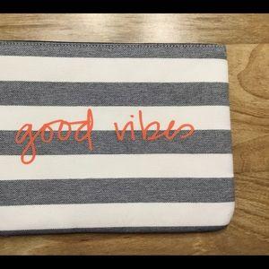 Stella & Dot Stripe Good Vibes Pouch Clutch NWOT